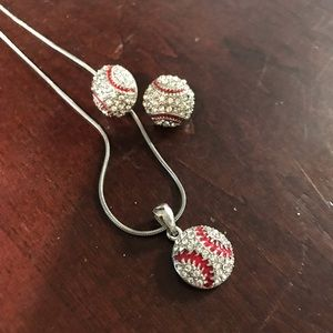 Baseball Earrings and necklace